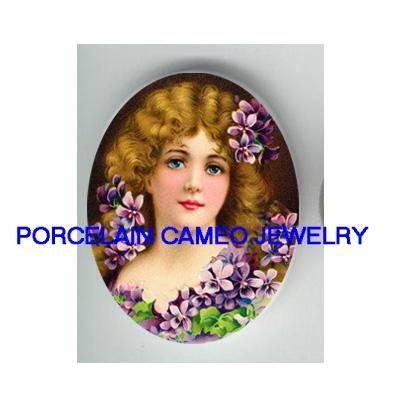 VICTORIAN LADY VIOLET UNSET CAMEO PORCELAIN CABOCHON