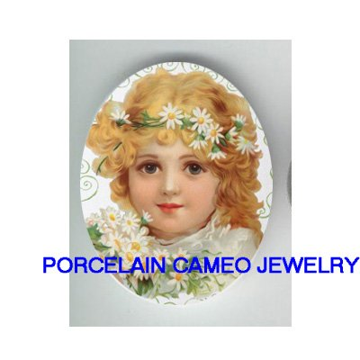 VICTORIAN GIRL WITH DAISY  * UNSET CAMEO PORCELAIN CABOCHON