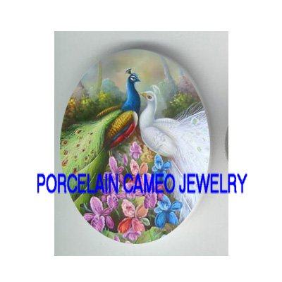 2 LOVING WHITE BLUE PEACOCK BIRD ORCHID PORCELAIN CAMEO CABOCHON