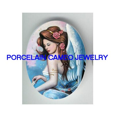 ROSE BLUE ANGEL* UNSET CAMEO PORCELAIN CABOCHON