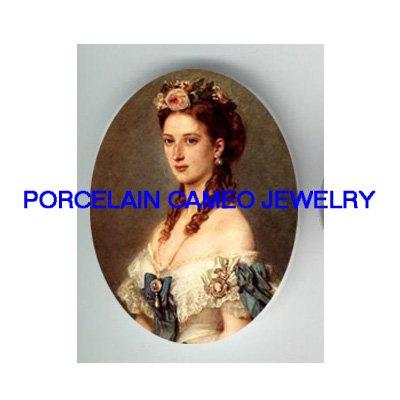 VICTORIAN ROYAL PRINCESS LADY* UNSET CAMEO PORCELAIN CABOCHON