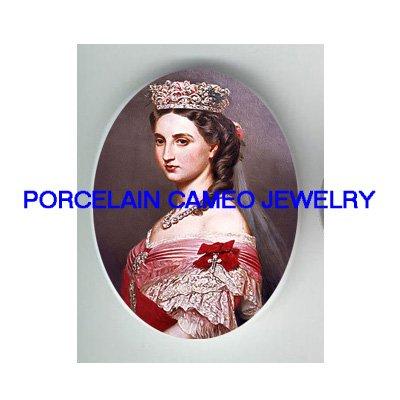 VICTORIAN ROYAL CROWN PRINCESS LADY UNSET CAMEO PORCELAIN CABOCHON