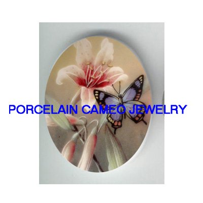 BUTTERFLY WITH PINK LILY FLOWER* UNSET CAMEO PORCELAIN CABOCHON