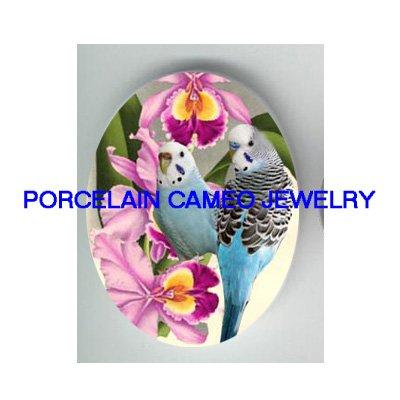 2 PARAKEET BUDGIE BIRD ORCHID CAMEO PORCELAIN 18X25MM CABOCHON
