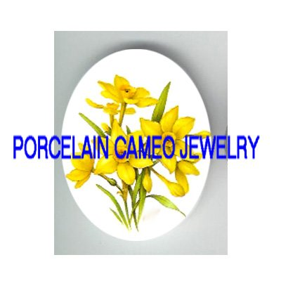 PRETTY DAFFODIL FLOWER* UNSET CAMEO PORCELAIN CABOCHON