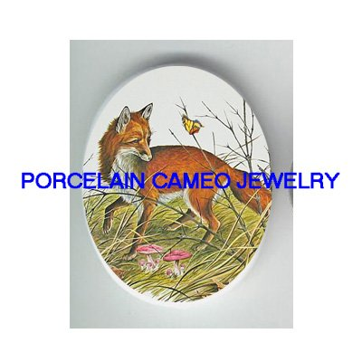 RED FOX CHASING BUTTERFLYUNSET CAMEO PORCELAIN CABOCHON