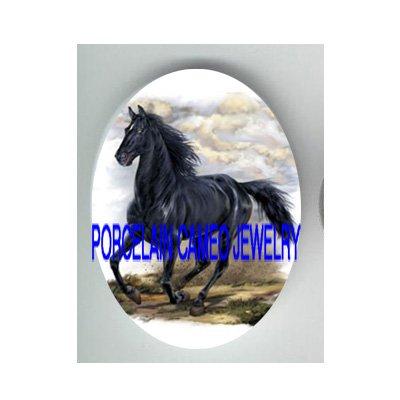 BLACK STALLION HORSE RUNNING UNSET CAMEO PORCELAIN CABO