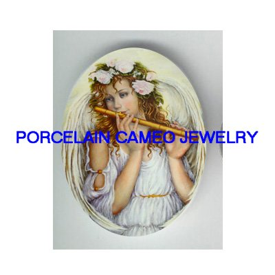 ROSE ANGEL PLAY FLUTE UNSET PORCELAIN CAMEO CABOCHON
