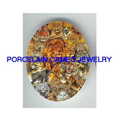 LION TIGER LEOPARD WILD CAT COLLAGE * UNSET CAMEO PORCELAIN CABOCHON