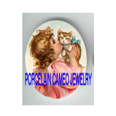 VICTORIAN PINK DRESS GIRL KISSING KITTY CAT * UNSET CAMEO PORCELAIN CABOCHON