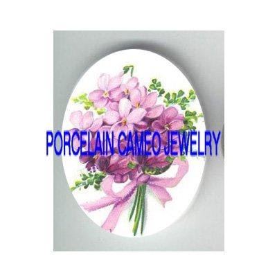 PINK VICTORIAN VIOLET FLOWER  * UNSET CAMEO PORCELAIN CABOCHON