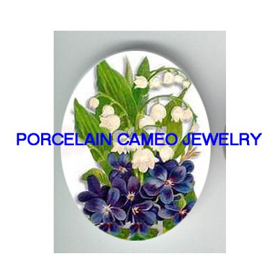 VICTORIAN VIOLET LILY OF THE VALLEY   * UNSET CAMEO PORCELAIN CABOCHON