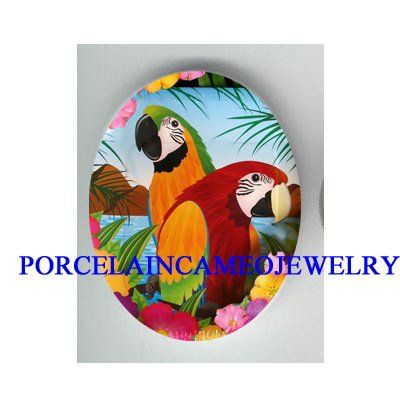 2 TROPICAL MACAW PARROT FLOWER* UNSET CAMEO PORCELAIN CABOCHON