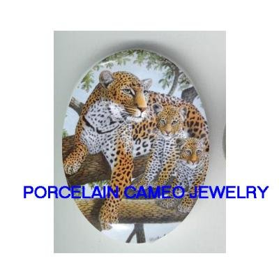 3 LEOPARD FAMILY MOM BABY CUB IN THE TREE* UNSET CAMEO PORCELAIN CABOCHON