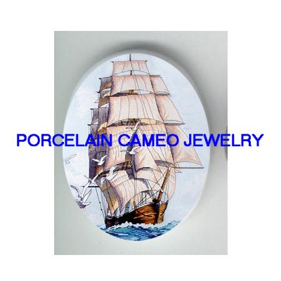 LIPPER SHIP WITH SEAGULL * UNSET CAMEO PORCELAIN CABOCHON