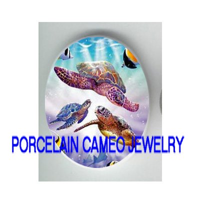 SEA TURTLE FAMILY MOM BABY FISH * UNSET CAMEO PORCELAIN CABOCHON