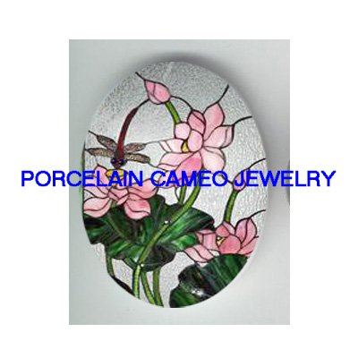 DRAGONFLY WITH WATER LILY LOTUS * UNSET CAMEO PORCELAIN CABOCHON