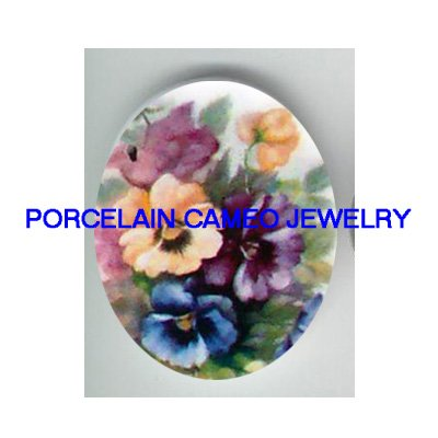 COLORFUL SPRING PANSY * UNSET CAMEO PORCELAIN CABOCHON
