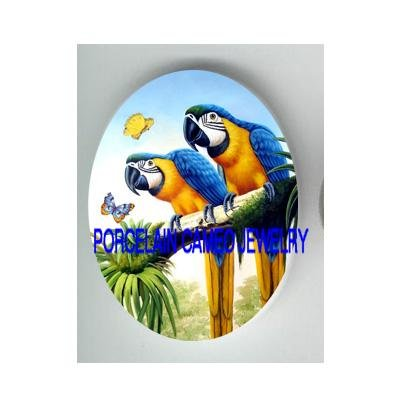 2 BLUE MACAW PARROT BIRD BUTTERFLY* UNSET CAMEO PORCELAIN CABOCHON