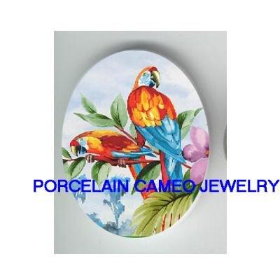2 MACAW PARROT BIRD PURPLE ORCHID* UNSET CAMEO PORCELAIN CABOCHON