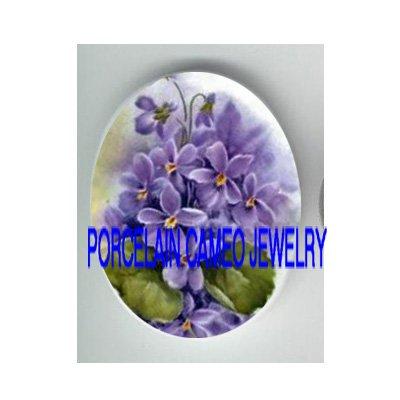 SPRING PURPLE VIOLET FLOWER UNSET CAMEO PORCELAIN CABO