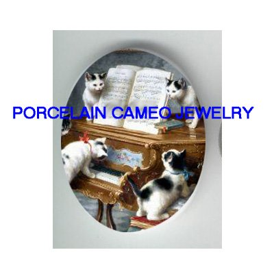 4 VICTORIAN KITTY CAT PLAY PIANO MUSIC  * UNSET CAMEO PORCELAIN CABOCHON