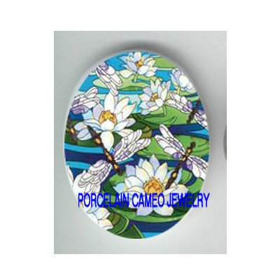DRAGONFLY WITH WATER LILY LOTUS* UNSET CAMEO PORCELAIN CABOCHON