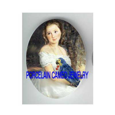 VICTORIAN GIRL WITH HER MACAW PARROT BIRD PET * UNSET CAMEO PORCELAIN CABOCHON