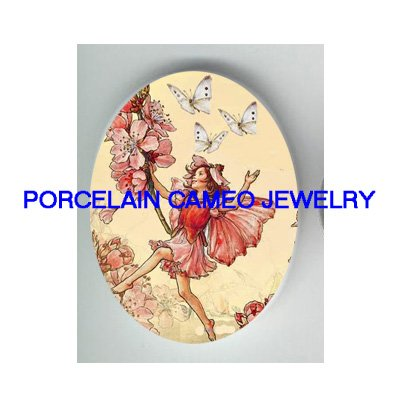 CHERRY BLOSSOMS FAIRY BUTTERFLY* UNSET CAMEO PORCELAIN CABOCHON