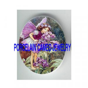 PURPLE FLOWER BUTTERFLY FAIRY  * UNSET CAMEO PORCELAIN CABOCHON