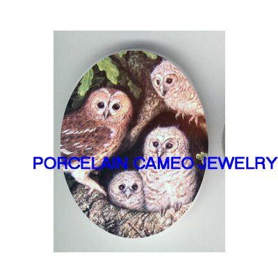 4 OWL FAMILY MOM BABY NEST * UNSET CAMEO PORCELAIN CABOCHON
