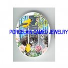 2 BLACK WHITE KITTY CAT WATCHING WINDOW BIRD ROSE * UNSET CAMEO PORCELAIN CABOCHON