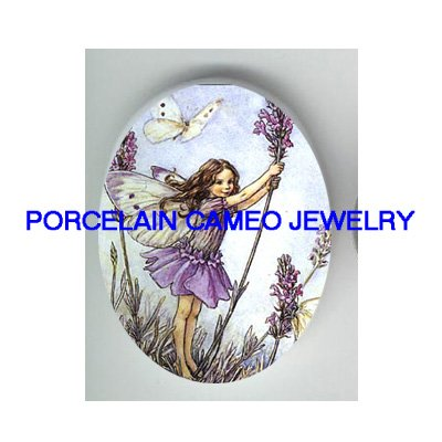 LAVENDER FLOWER BUTTERFLY FAIRY * UNSET CAMEO PORCELAIN CABOCHON