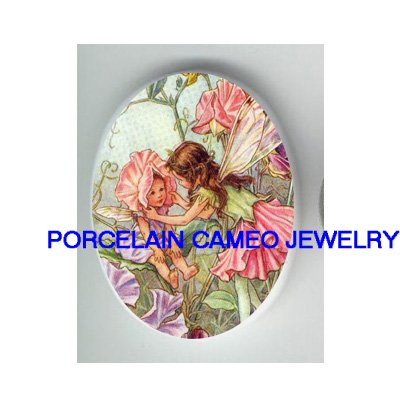 SWEET PEA BUTTERFLY FAIRY SISTERS * UNSET CAMEO PORCELAIN CABOCHON