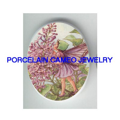 LILAC BUTTERFLY FAIRY * UNSET CAMEO PORCELAIN CABOCHON