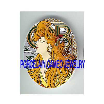 ALPHONSE MUCHA BLONDE LADY * UNSET CAMEO PORCELAIN CABOCHON