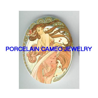 ALPHONSE MUCHA PINK  DANCING LADY UNSET CAMEO PORCELAIN CABOCHON