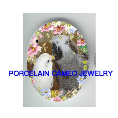 PARAKEET BUDGIE KISSING AFRICAN GREY PARROT ROSE* UNSET CAMEO PORCELAIN CABOCHON