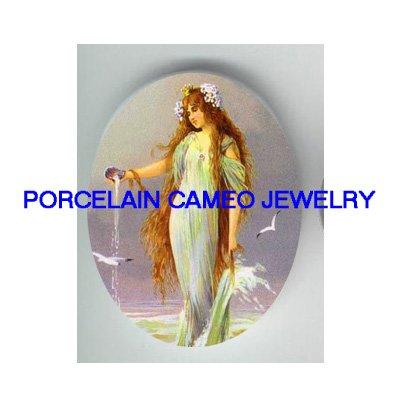 VICTORIAN MERMAID SEA GODDESS * UNSET CAMEO PORCELAIN CABOCHON