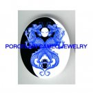 2 BLUE DRAGON YIN AND YANG* UNSET CAMEO PORCELAIN CABOCHON