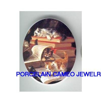 VICTORIAN KITTY CAT READ BOOK WRITE LETTER* UNSET CAMEO PORCELAIN CABOCHON
