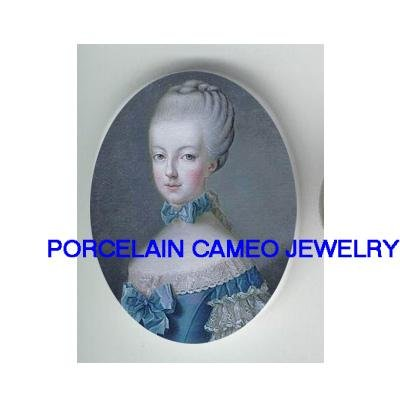 YOUNG MARIE ANTOINETTE BLUE RIBBON* UNSET CAMEO PORCELAIN CABOCHON