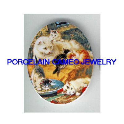 6 Victorian kitty cat family mom and kitty * UNSET CAMEO PORCELAIN CABOCHON