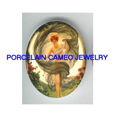 GREEK LUNA MOON GODDESS FAIRY POPPY FLOWER* UNSET CAMEO PORCELAIN CABOCHON