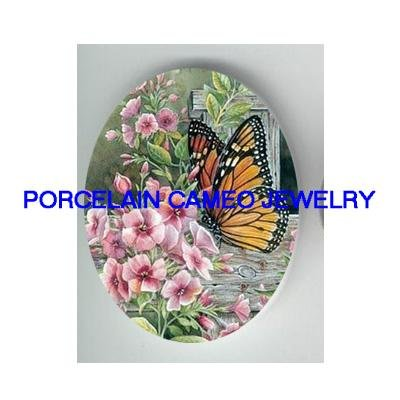 BUTTERFLY WITH WILD ROSE* UNSET CAMEO PORCELAIN CABOCHON