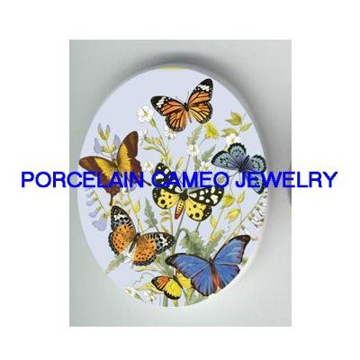 BUTTERFLY  WITH FLOWER* UNSET CAMEO PORCELAIN CABOCHON