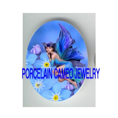 FORGET ME NOT FAIRY UNSET PORCELAIN CAMEO CABOCHON