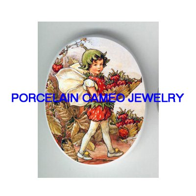 STRAWBERRY BUTTERFLY FAIRY PORCELAIN CAMEO CABOCHON