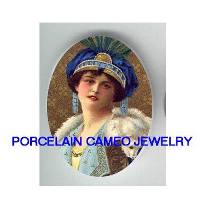 ART DECO BLUE HAT FLAPPER LADY UNSET CAMEO PORCELAIN