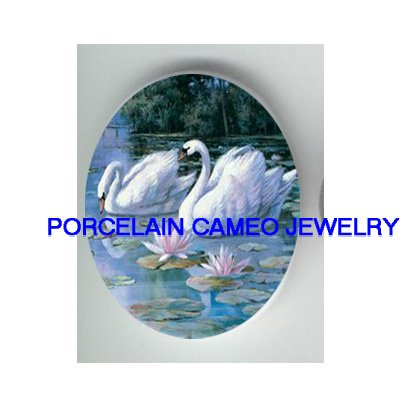 2 SWAN COUPLE WATER LILY UNSET CAMEO PORCELAIN CABO